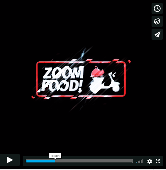 Zoom Food Logo Sting Video